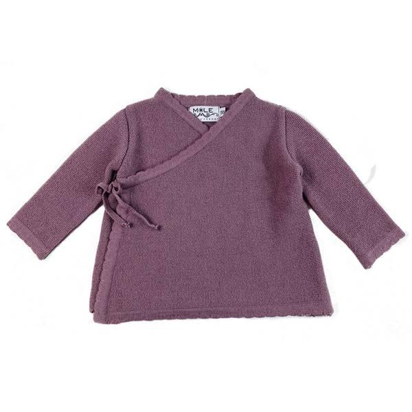 Newborn omslagsjakke i ull støvlilla
